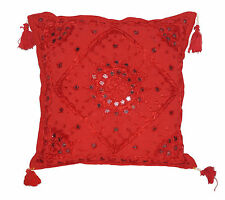 """16"""" Red Pillow Cushion Cover Mirror Embroidered Tassel Sofa Throw Indian Decor"""