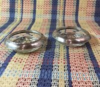 "2 ANSTON STERLING GLASS COASTERS . Un-Polished 1930's-40's 3-3/4""x1"""