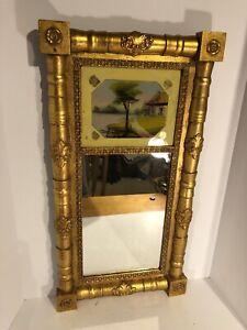 "Art Deco Style Carved Wooden Framed Mirror Vintage 30""x16"""
