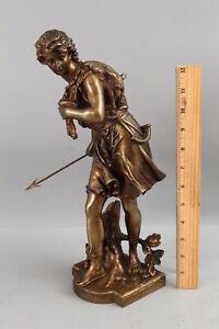 Antique 19thC French, Eutrope Bouret Bronze, Statue Ancient Roman Hunter NO RES