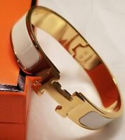 Premium High Quality Stainless Steel H Clic Gold & White Bangle Bracelet