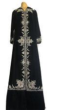 New listing Exquisite Black Velvet Hand Beaded Kohler Couture Caftan Long Dress