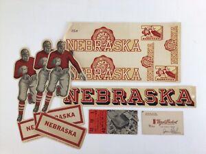 1927 Nebraska Football Decals + Vintage Cornhuskers Ticket 1960