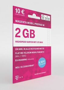 Telekom Xtra Prepaid M 2GB LTE / 200 frei Minuten  / D1 Flatrate +10 GB Geschenk