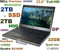 # Workstation DELL M4800 i7-Quad FAST (2TB SSD + 2TB) 32GB 15.6 FHD K2100M BKLit