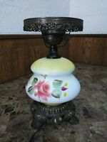 "Vintage L&LWMC Table Lamp White/Yellow Floral Hand Painted Hurricane 16"" WORKS!"