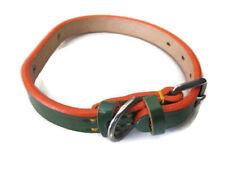 "Nicely Made DoggyMan 15"" Adjustable green/orange Genuine Leather Dog Pet Collar"