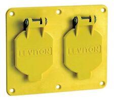 LEVITON 3263W-Y Weatherproof Cover, Horizontal, Yellow