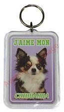 """Porte clé chien """"J'aime mon Chihuahua à poil long""""  idée cadeau NEUF"""