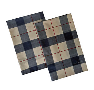 Cannon, Gray and Tan Plaid Standard Queen Size Pillow Cases, 1 Pair