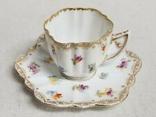 Antique Dresden Germany Handpainted Demitasse Cup & Saucer Colorful Flowers Gold