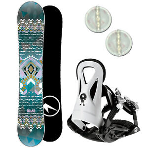 TRANS CU GIRL KINDER SNOWBOARD SET 2020 ~ 125 CM + JUNIOR BINDUNG GR. S + PAD
