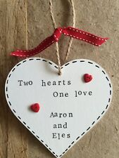 Wooden Personalised Heart Plaque Sign Engagement Valentines Present Gift