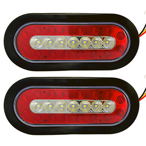 "2pc - 6.3"" inch Oval 23 LED Stop Turn Backup Reverse Tail Lights Red and White"