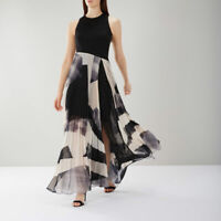BNWT COAST Aria Black Mono Geo Pleated Cocktail Maxi Dress Ball Gown 12 £159
