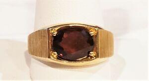 80s MCM 10K Gold Sz 12 Signet Ring w/10x8 Millimeter Oval Amber Red Garnet 6gr