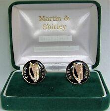 1996 IRISH Cufflinks made from old IRELAND  coins in Black & Gold
