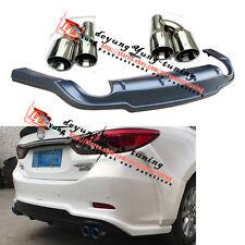 Rear Bumper Diffuser + Exhaust muffler End Tip Pip for Mazda 6 / Atenza GJ 12-17
