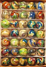 "Collector Box 35 Mint JABO JOKER PASTEL Swirl Marbles. 23/32"" to 3/4"""
