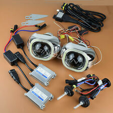 3.0'' HID Bi-xenon Projector Lens Square LED Angel Eyes Halo Kit H4 H7 9005 9006