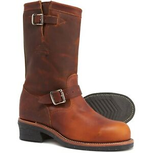 """New Chippewa 1"""" Original Engineer Work Boots Steel Toe Brown Leather 2nds SZ 8 E"""