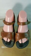 Wolky Sandals Leather Ankle Strap  Size EU 40/ US 9.5 Brown