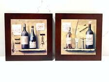 Lot of 2 Ceramic Tile Wall Art Wine Bottles Plaque Picture Wood Framed Decor