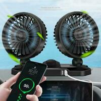 Car 12V Dashboard Cooling Fan with Dual USB Charger 360 Two Head 2-Speed fo W3Z3