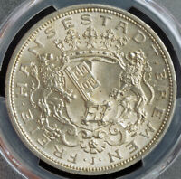 1906, Bremen (Free Hanseatic City). Large Silver 5 Mark Coin. Gem! PCGS MS-66!