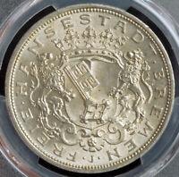 1906, Bremen (Free Hanseatic City). Large Silver 5 Mark Coin. Gem! PCGS MS-66!