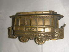 vintage 1979 solid brass Union Pass 65 Railway die-cut train car belt buckle