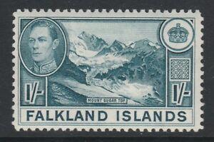 Falkland Islands 1938-50 George VI 1/- Dull greenish blue SG 158a Mint.