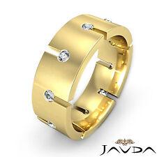 8mm Mens Eternity Wedding Band Bezel Round Diamond Ring 14k Yellow Gold 0.50Ct