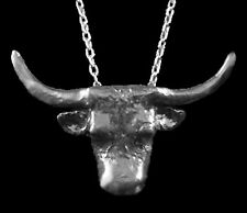 Texas Longhorn Pendant with Chain, Sterling Silver, Custom Made!  One Of A Kind!