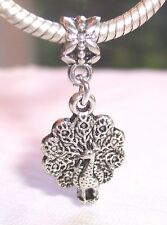 Peacock Bird Zoo Animal Jewelry Dangle Bead fits Silver European Charm Bracelets