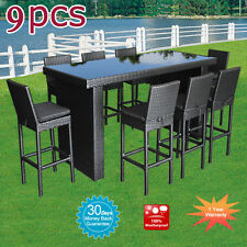 Outdoor Furniture Bar Table Chairs Patio Dining Pool Rattan Wicker Set 9pcs New
