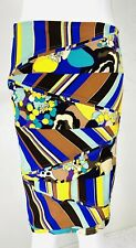 VTG 90s GIANNI VERSACE Silk Purple Blue Yellow Baroque Patchwork Pencil Skirt, S