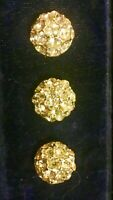 VTG (3) Three Brilliant Vintage Dome Silver  Rhinestone Buttons