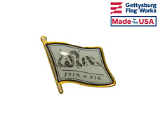 Join or Die Single Waving Flag Lapel Hat Tie Pin - Made in the USA