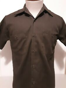 Men's Sears Work Leisure SS olive green polyester blend shirt size S