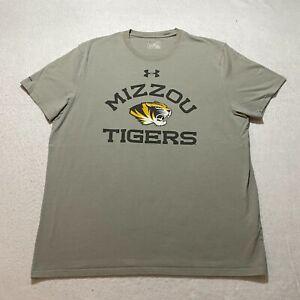 Under Armour T-Shirt Size XL Gray Mizzou Tigers Loose Heat Gear Short Sleeve
