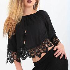 wunderschöne leichte Spitzen Bluse schwarz Gothic gothik Shirt black blouson