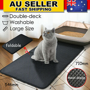 Cat Litter Trapping Mat Double-Layer Honeycomb Design Foldable Tray Trap Pad L
