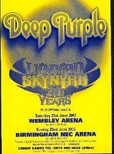DEEP PURPLE Lynyrd Skynyrd  2003 UK Tour Flyer/mini Poster 6x4 inches