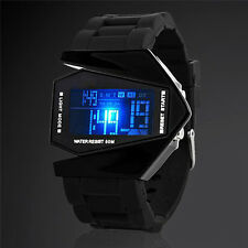 Fashion Men's Black Stainless Steel Luxury Sport Digital LED Wrist DIAL Watch