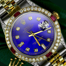 Women's Rolex SS Gold 31mm Datejust Watch Blue Dial Ruby & Diamond With A Track