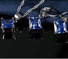 DAMEN SCHMUCKSET BLAU 925 Silber Ohrringe Halskette Kette Ohrstecker Schmuck NEU