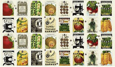 "Sewing Seeds II Garden Seed Pack Vegetable Tags Cotton Fabric QT 24""X44"" PANEL"