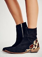 Free People Black Suede Ocelot Calf Hair Heel Last Outlaw Ankle Boots Size 37 7