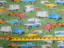 Backcountry Campers Travel Trailers W Trucks on Green  BY YARDS QT Cotton Fabric